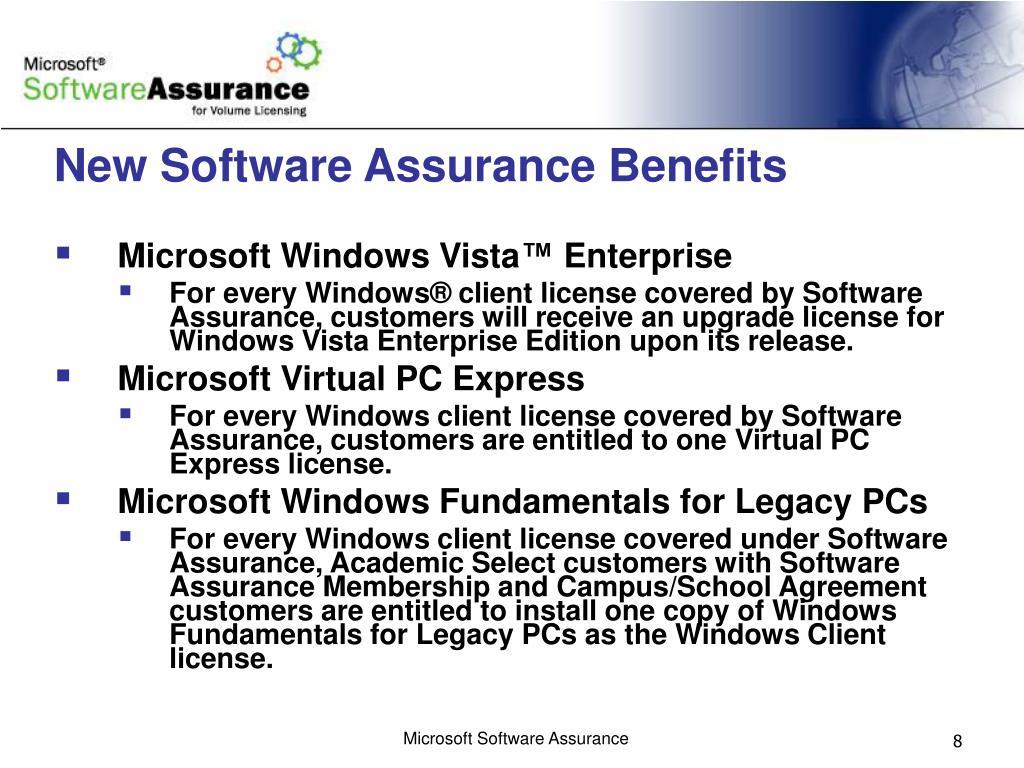 New Software Assurance Benefits