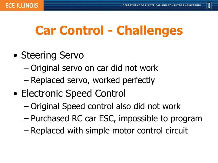 Car Control - Challenges