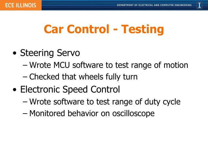 Car Control - Testing
