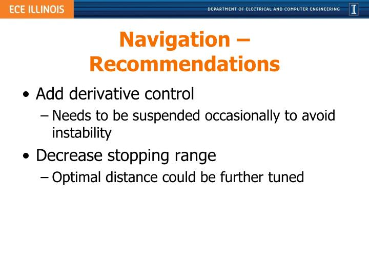 Navigation – Recommendations