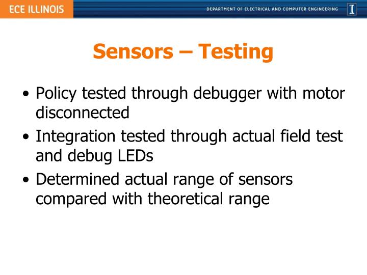 Sensors – Testing