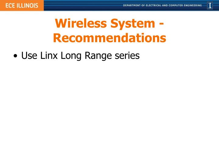 Wireless System - Recommendations