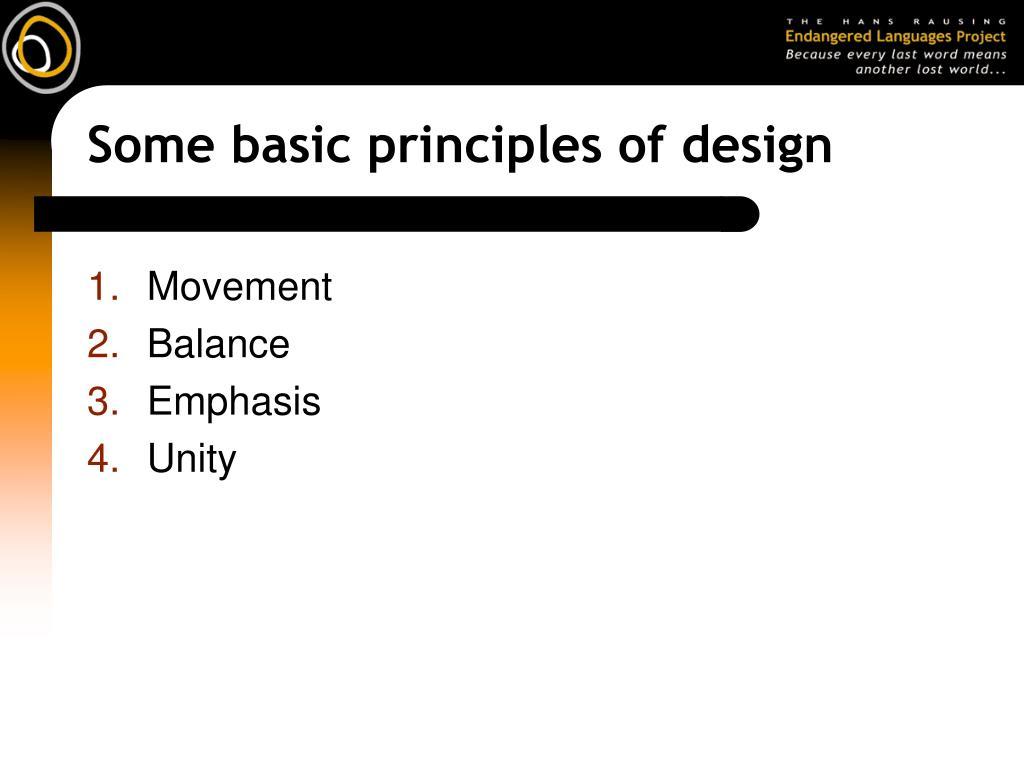 Some basic principles of design