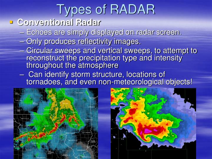 types of radars Better radars, apparently raytheon, an american defense technology giant, has a new video out explaining how multiple types of radars can work together for a more complete picture of an incoming attack seeing different parts of the electromagnetic spectrum, with different kinds of radar, is a complex.