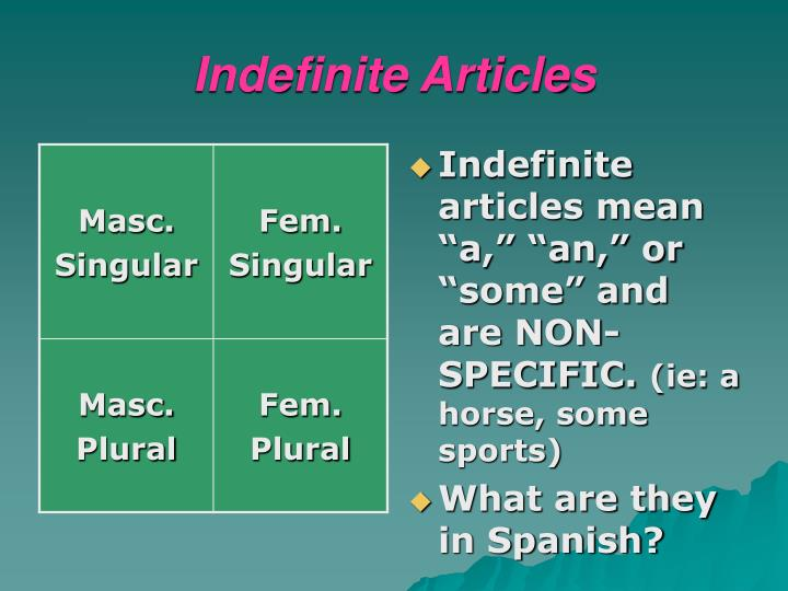 Indefinite Articles
