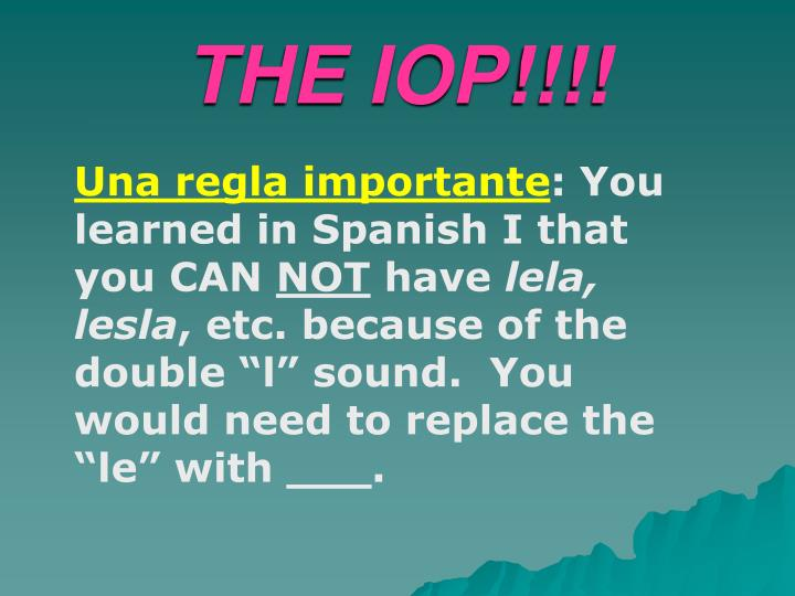 THE IOP!!!!