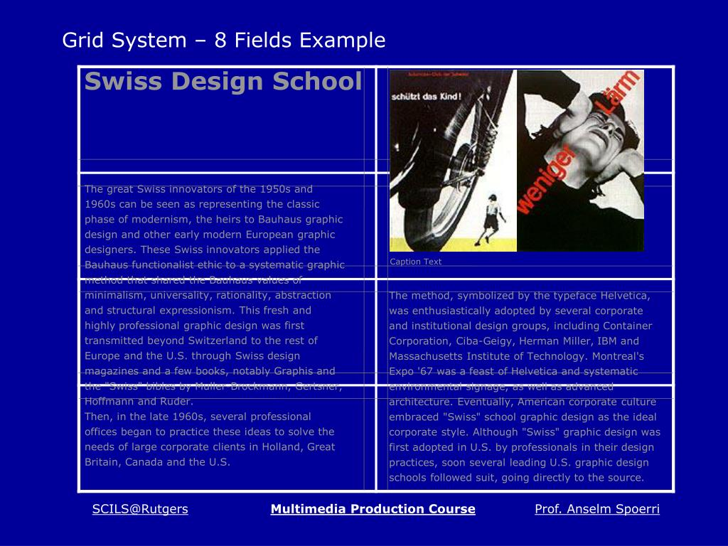 Grid System – 8 Fields Example