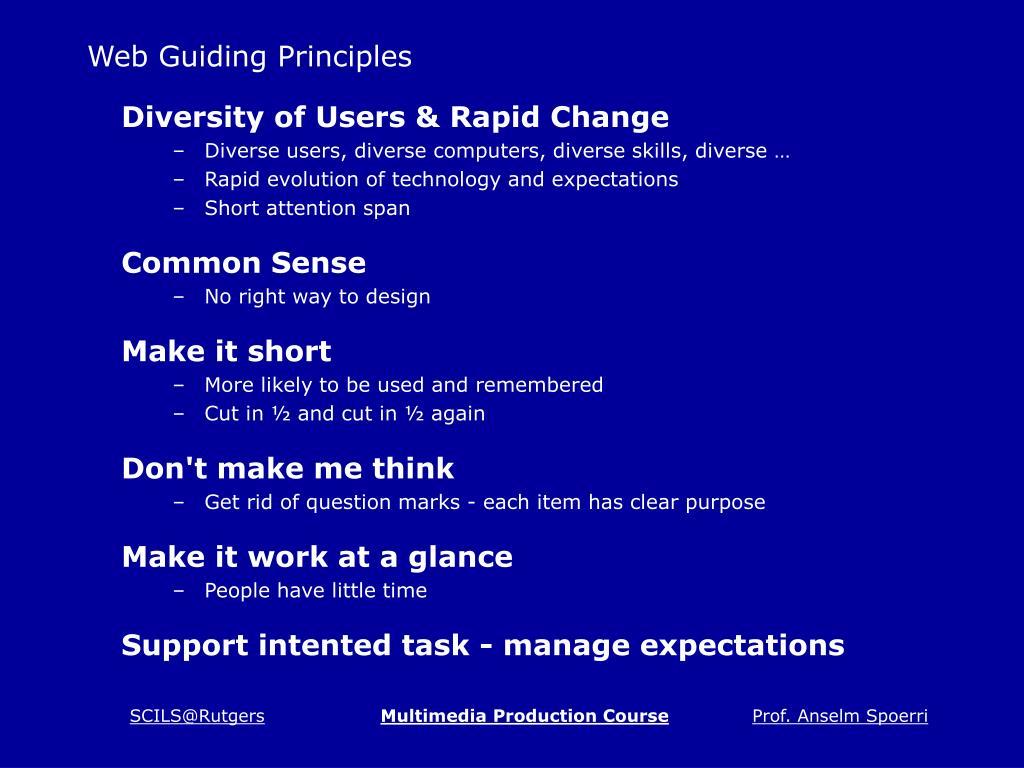 Web Guiding Principles