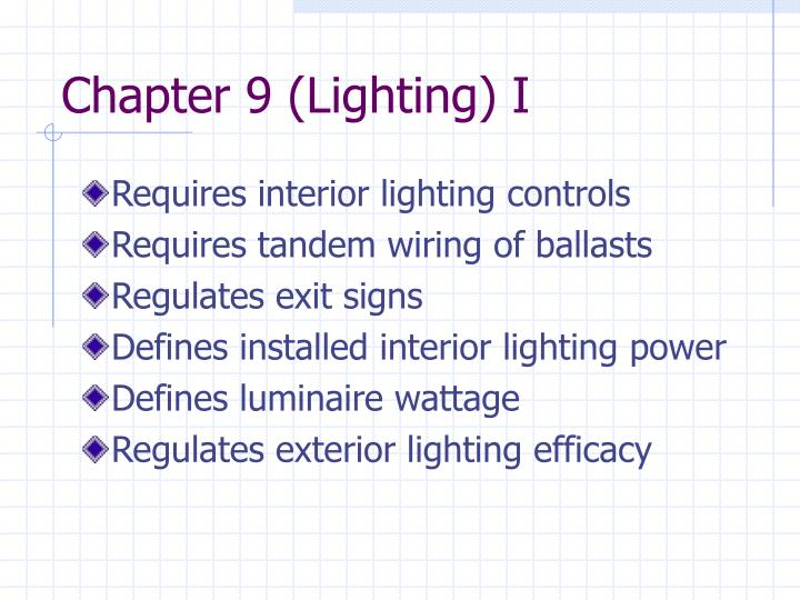 Chapter 9 (Lighting) I