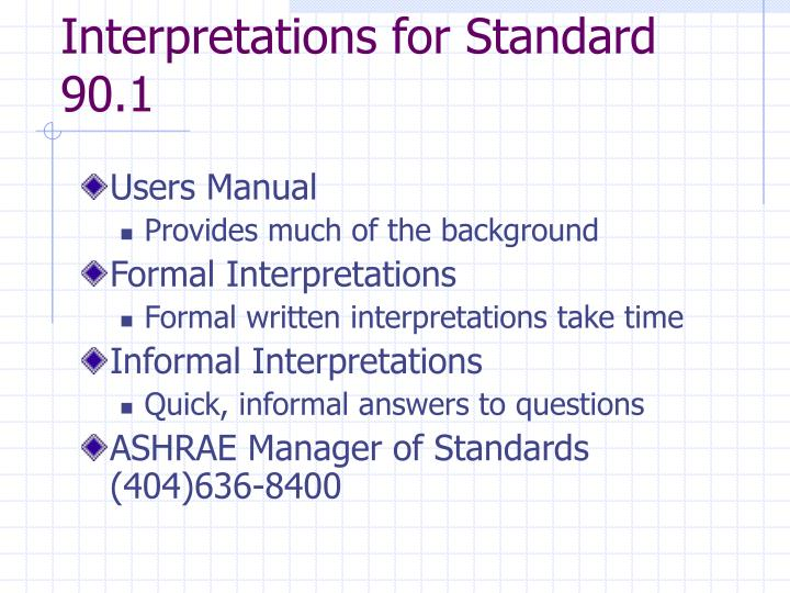 Interpretations for Standard 90.1