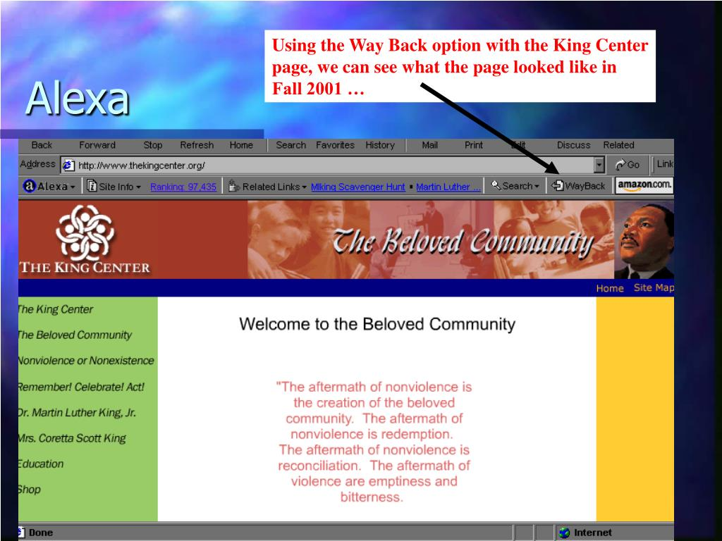 Using the Way Back option with the King Center page, we can see what the page looked like in Fall 2001 …