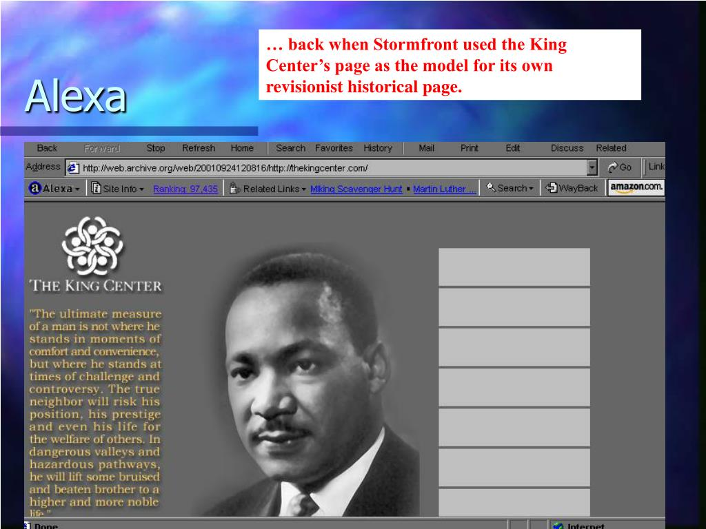 … back when Stormfront used the King Center's page as the model for its own revisionist historical page.