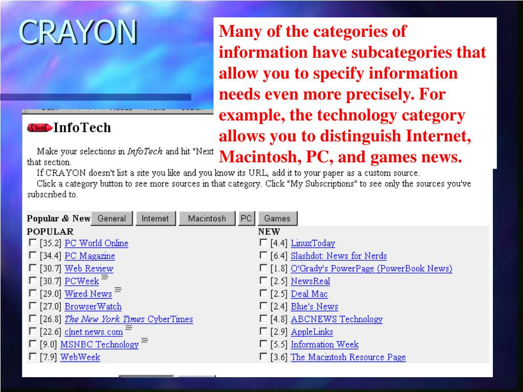 Many of the categories of information have subcategories that allow you to specify information needs even more precisely. For example, the technology category allows you to distinguish Internet, Macintosh, PC, and games news.