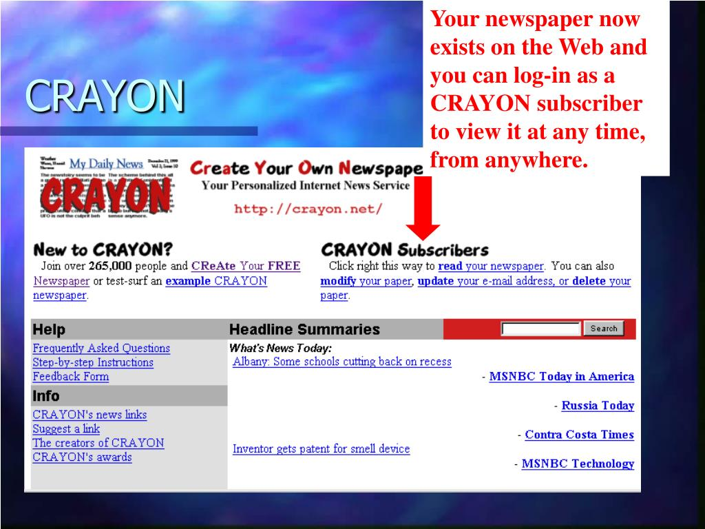 Your newspaper now exists on the Web and you can log-in as a CRAYON subscriber to view it at any time, from anywhere.
