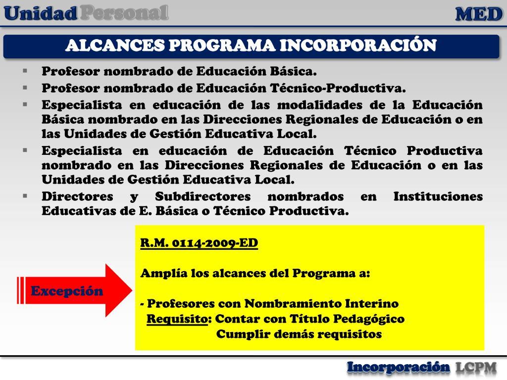 ALCANCES PROGRAMA INCORPORACIÓN