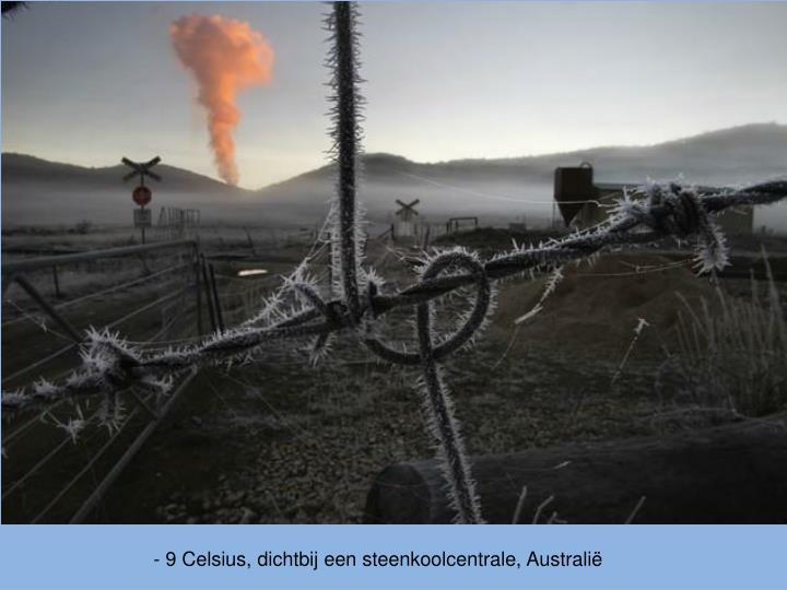 - 9 Celsius, dichtbij een steenkoolcentrale, Australië