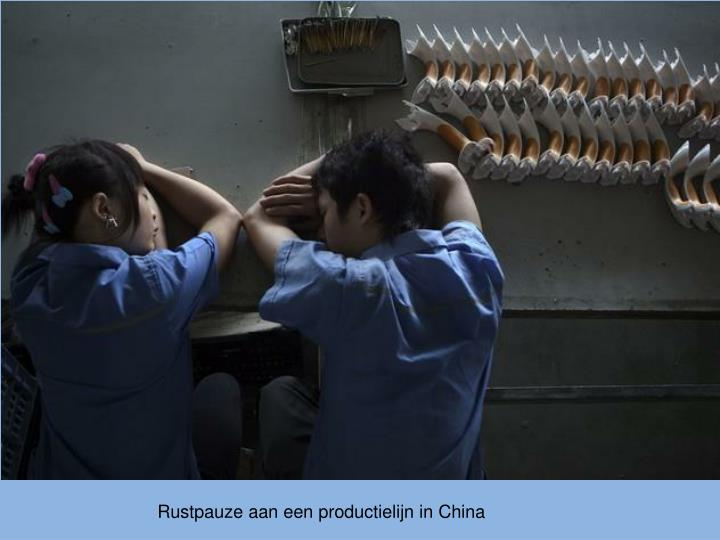 Rustpauze aan een productielijn in China