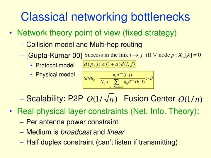 Classical networking bottlenecks