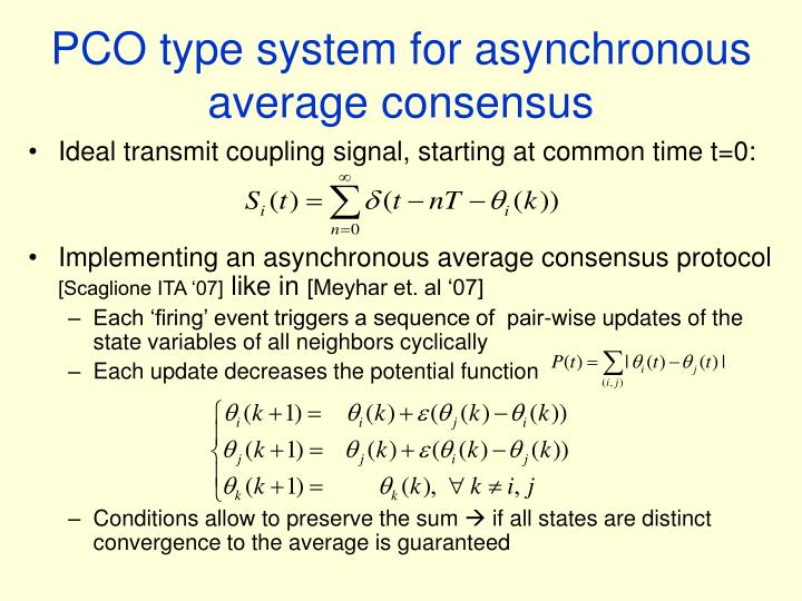 PCO type system for asynchronous average consensus