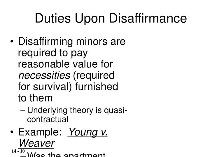 Duties Upon Disaffirmance