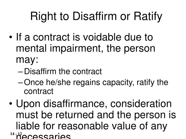 Right to Disaffirm or Ratify