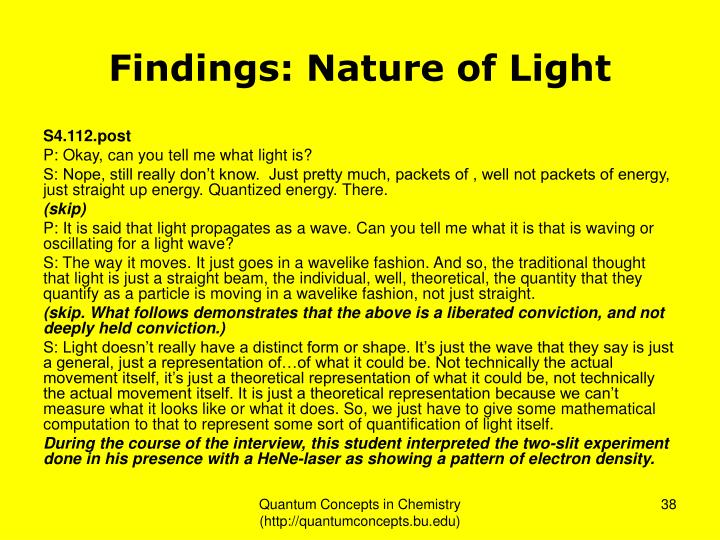 Findings: Nature of Light
