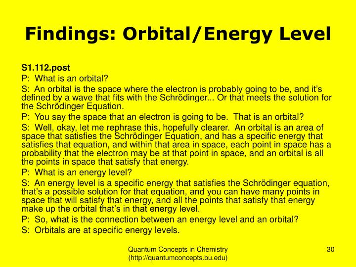 Findings: Orbital/Energy Level