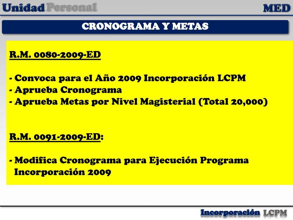 CRONOGRAMA Y METAS