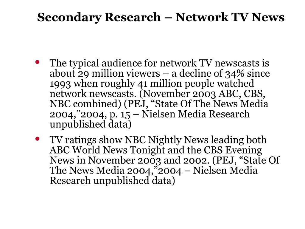 Secondary Research – Network TV News