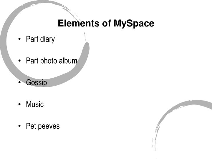 Elements of MySpace