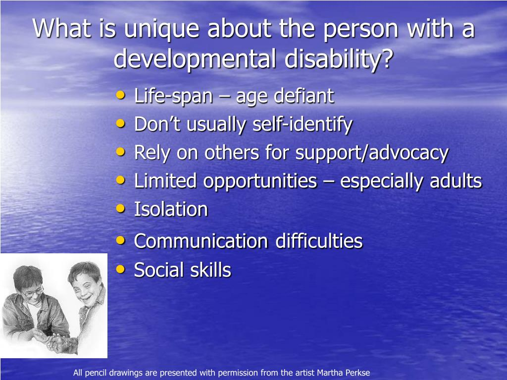 What is unique about the person with a developmental disability?