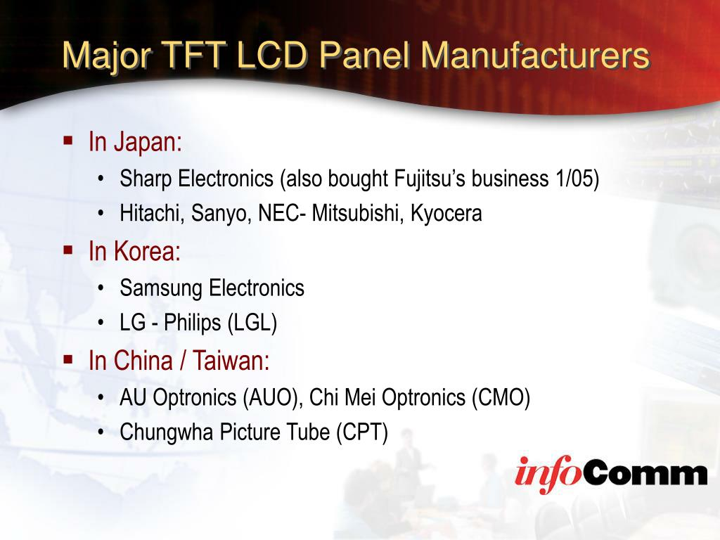 Major TFT LCD Panel Manufacturers