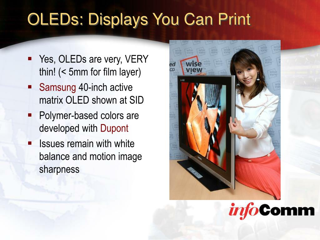 OLEDs: Displays You Can Print
