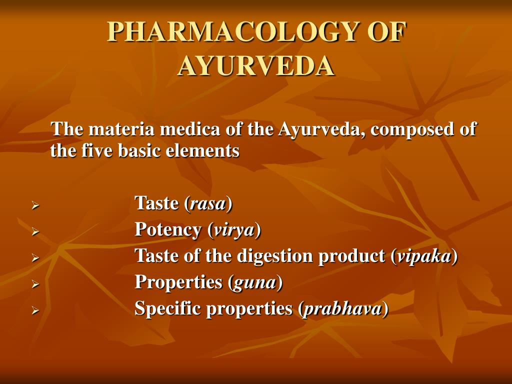 PHARMACOLOGY OF AYURVEDA