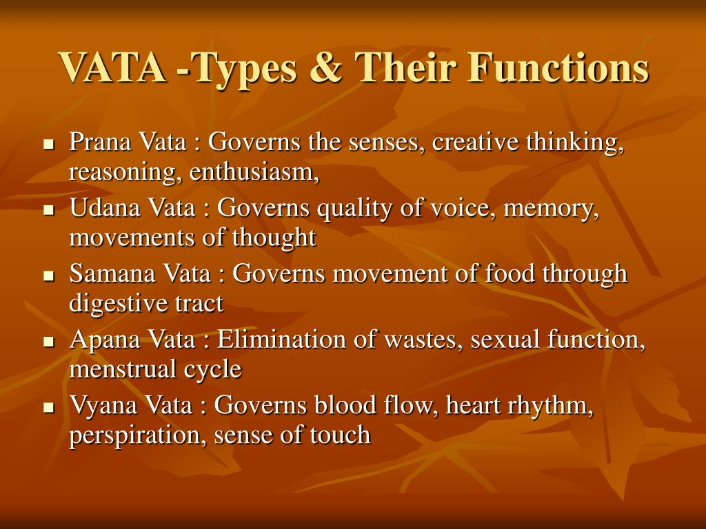 VATA -Types & Their Functions