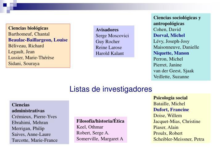 Ciencias sociológicas y antropológicas