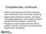 competencies continued