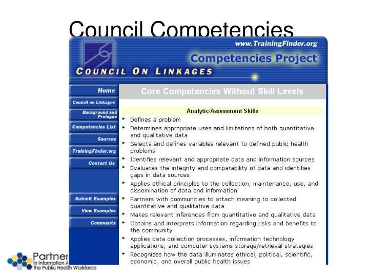 Council Competencies