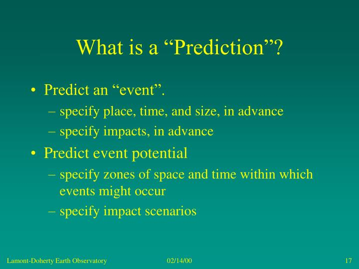 "What is a ""Prediction""?"