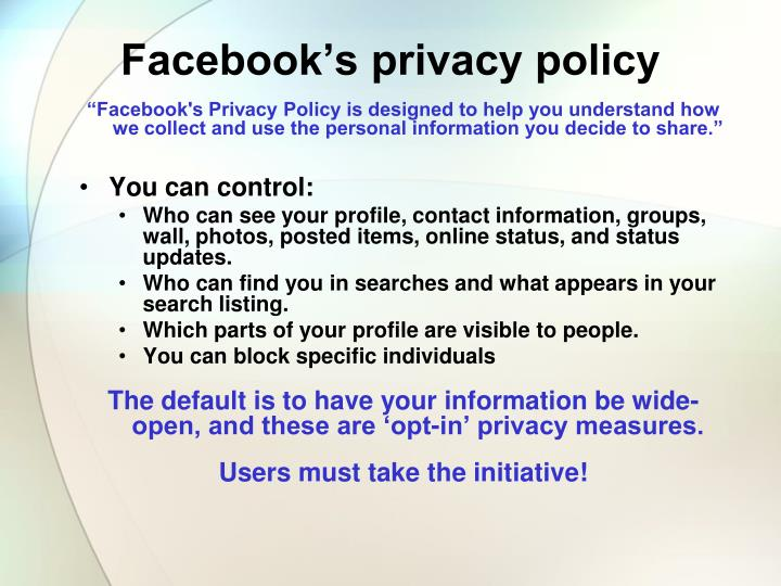 Facebook's privacy policy