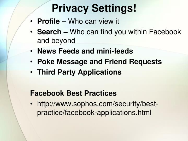 Privacy Settings!