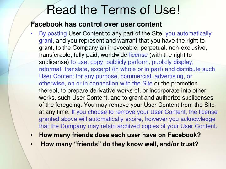 Read the Terms of Use!