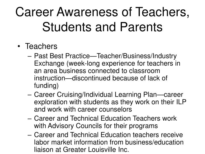 Career Awareness of Teachers, Students and Parents