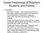 career awareness of teachers students and parents