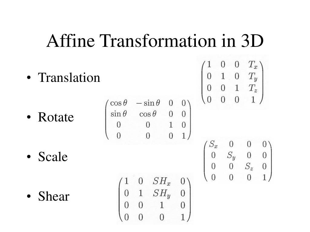 Affine Transformation in 3D