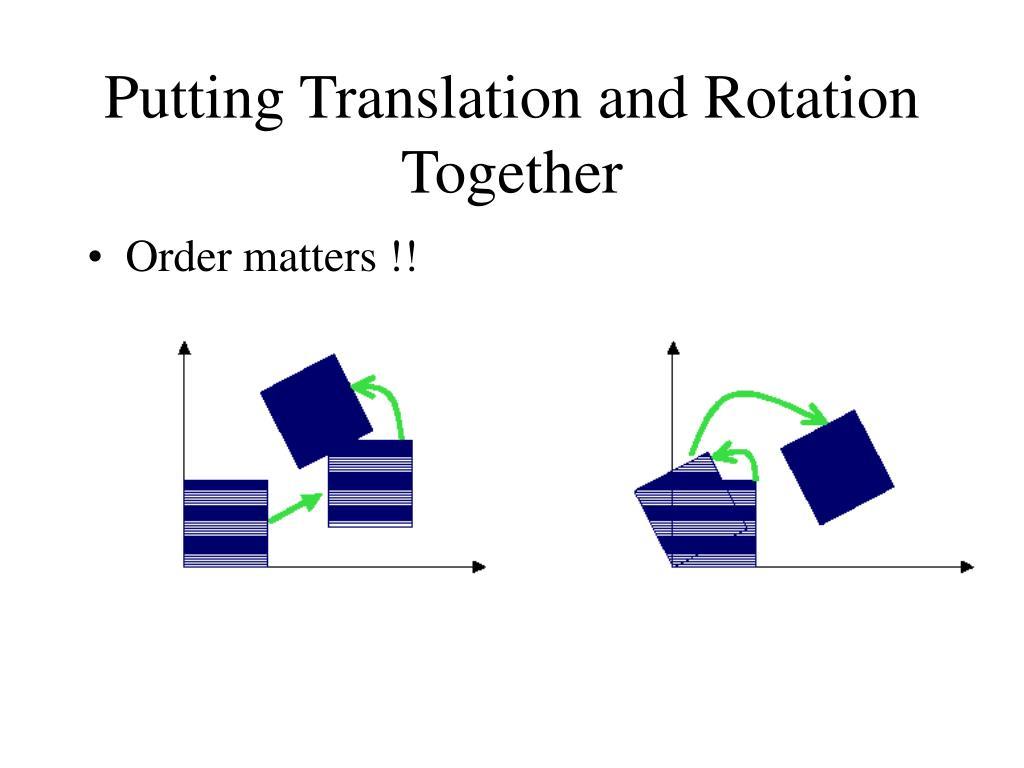 Putting Translation and Rotation Together