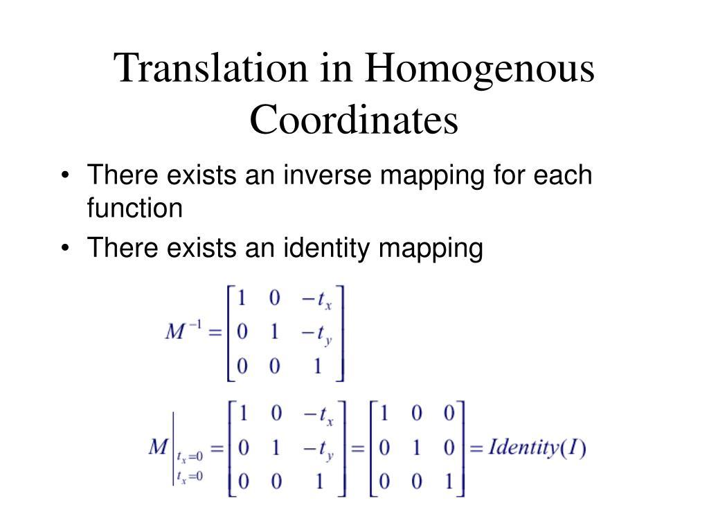 Translation in Homogenous Coordinates