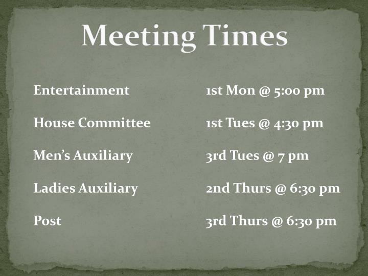 Meeting Times