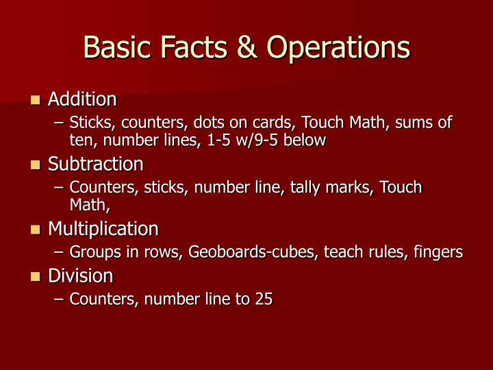 Basic Facts & Operations