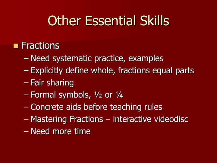 Other Essential Skills